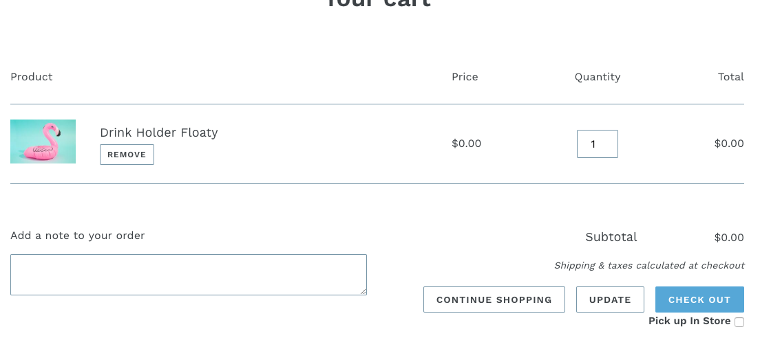 Shopify Store Pickup App cart notes